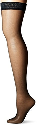 Hanes Women's Silk Reflections Thigh Highs, Jet, E/F