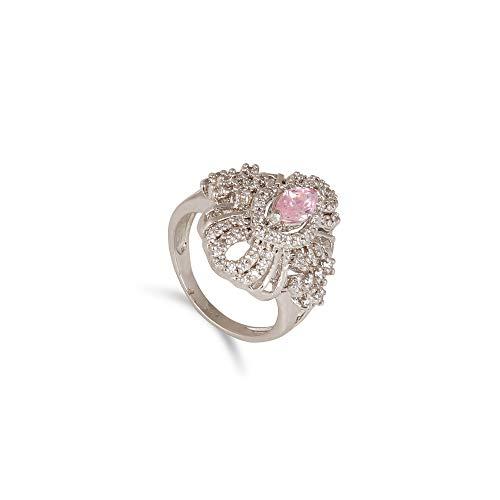 GEMHUB Anillo de compromiso de plata de ley 925 con circonita rosa y acento blanco de 6 gramos