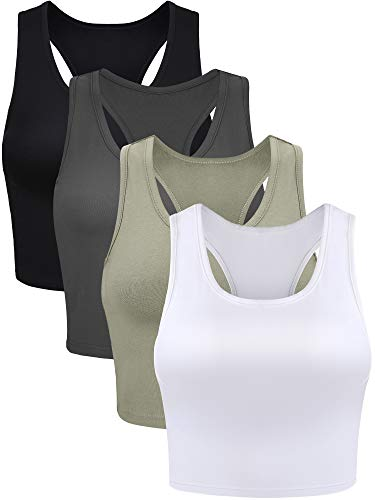 4 Pieces Women Cotton Basic Sleeveless Racerback Tank Top Camisole Sports Crop Top for Daily Wearing (Black, Dark Grey, Olive, White, Large)