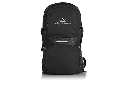 Valley of Sweden - Foldable Backpack, Packable Lightweight Water Resistant Daypack for Travel Hiking Daypack Outdoor Sports Camping Walking USB Charging Port 11oz 35L (Black, One size)