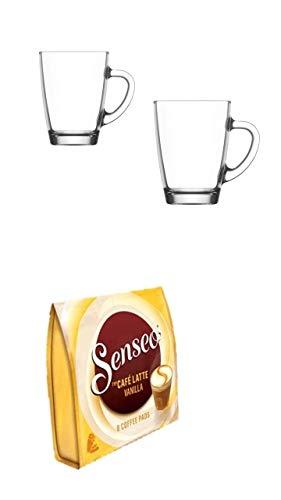 Senseo Cafe Latte Vanilla + 2 Glasbecher mit Henkel