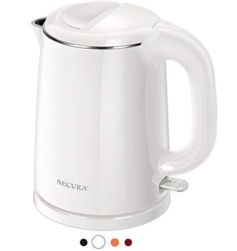 Secura Stainless Steel Double Wall Electric Kettle Water Heater for Tea Coffee w/Auto Shut-Off and Boil-Dry Protection, 1.0L (White)