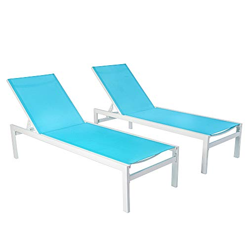 Kozyard Modern Full Flat Alumium Patio Reclinging Adustable Chaise Lounge with Sunbathing Textilence for All Weather, 5 Adjustable Position, Very Light, Anti-Rusty (2 Pack Blue)