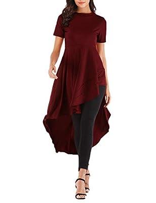Haola Women's Ruffle High Low Asymmetrical Irregular Hem Blouse Short Sleeve Tunic Top Burgundy XL