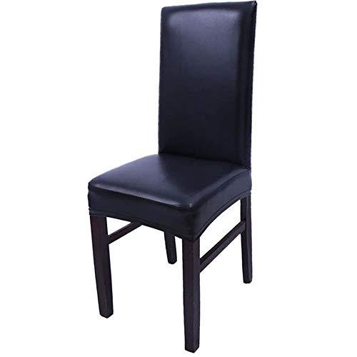 ASVNDD Dining Hussen Solide PU-Leder Wasserdicht Und Oilproof Stretch Dining Chair Abdeckung Slipcover for Privatanwender Dekorative (Color : Black, Specification : 40x40x38cm)