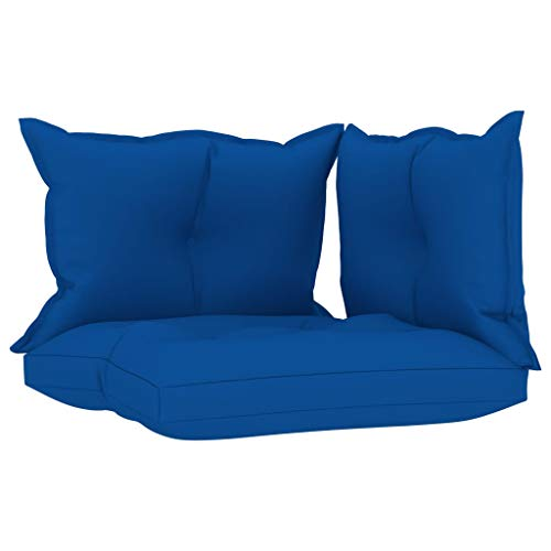 vidaXL Cojines para Sofá de Palets 3 Piezas Asiento Silla Respaldo Jardín Patio Balcón Terraza Exterior Suave Cómodo Decoración Tela Azul Klein