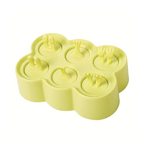 Molde de Helado Molde de Hielo Silicona de 6 Rejillas Caja de Paletas de Hielo Molde de Hielos y Polos Creativos Mini Molde de Chocolate Forma Animal