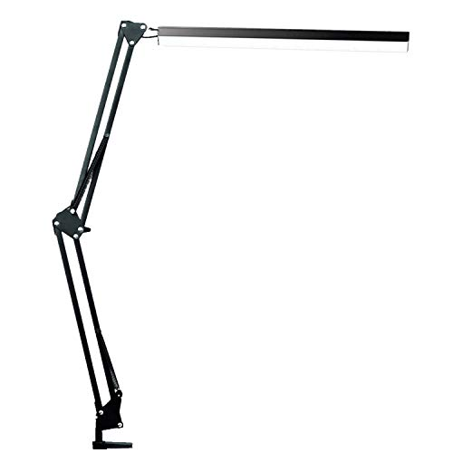 LED Architect Desk Lamp, BZBRLZ Metal Swing Arm Lamp, Infinite Brightness Adjustable, Eye-Caring Dimmable Table Lamp, 3 Color Modes, One-Button Operation, Memory Function (Black), 9W