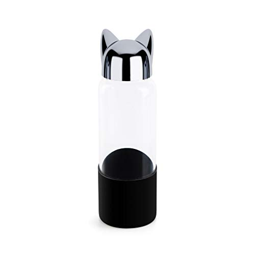 Balvi Botella Cat Color Negro Botella de Agua de Viaje, para la mesita de Noche o Escritorio. con Forma de Gato 350ml Vidrio/Silicona 20cm