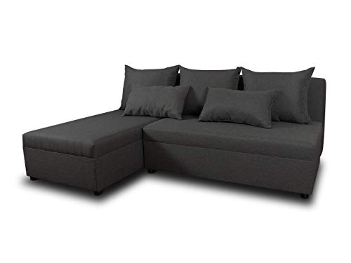 Ecksofa Pono mit Schlaffunktion - Couchgarnitur, Eckcouch, Sofa, Sofagarnitur, Bettsofa, L-Form Couch, Schlafsofa - Ottomane Universal (Dunkelgrau (Sawana 05))