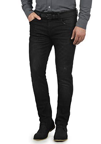 Indicode Aldersgate Herren Jeans-Hose Lange Hose Denim aus hochwertiger Baumwoll-Mischung Destroyed-Optik/Used-Look, Größe:W36/32, Farbe:Black (999)