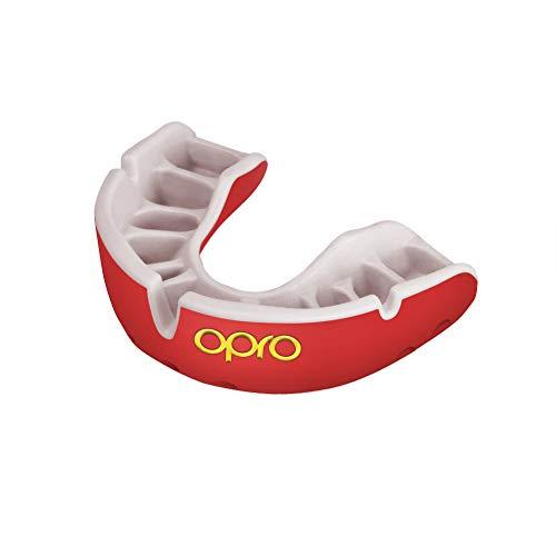 Opro Gold Level Mundschutz - für Rugby, Hockey, MMA, Boxen, Lacrosse, American Football, Basketball - Self Mould - (Rot/Perle, Erwachsene)