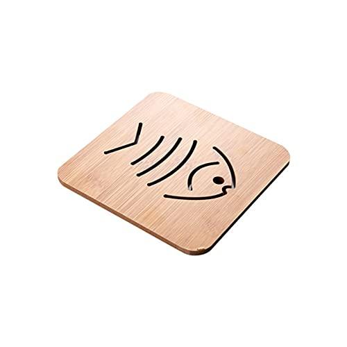 Underlägg kök bambu ihåligt trä underlägg tjock anti-skållning tecknad isoleringsdyna bordsmatta halkfri grytmatta skål matta bricka matta (färg: Fiskben)