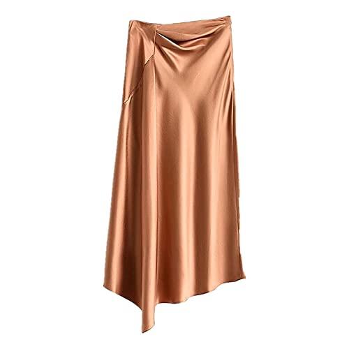 N\P Falda de talle alto para mujer coreana de moda de verano satinado elegante Irregular Midi
