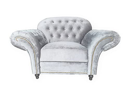 Sofas and More Lyon Chesterfield Style French Velvet fabric 3 + 2 seater sofa Armchair Blue Silver Grey (Silver, Armchair)