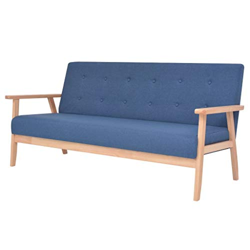 vidaXL Sofa 3-Sitzer mit Armlehnen Dreisitzer Stoffsofa Polstersofa Loungesofa Couch Polstermöbel Wohnzimmersofa Stoff Blau Holzgestell