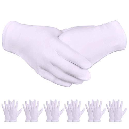 24 pares Guantes de Algodón Blanco Guantes de Algodón Dama Hombres para Inspeccionar Joyas, Humectantes para Manos Secas y Trabajo Diario