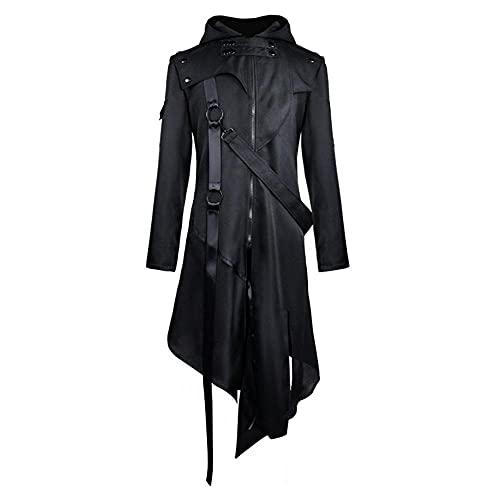 Herren Gothic Steampunk Mantel Asymmetrische Reißverschluss Jacke Viktorianische Gehrock Uniform Halloween Kostüm