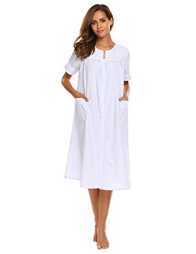 Ekouaer Nightgown Women's Cotton Short Sleeve Sleepwear Chemise Stripe House Coat, Light Blue, Small