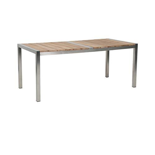 Greemotion Gartentisch SAN Diego aus Teak Holz-Esstisch braun für Garten, Terrasse & Balkon-Holztisch massiv mit Edelstahl-Teakholz Tisch wetterfest, 18,2 x 9,2 x 1,3 cm