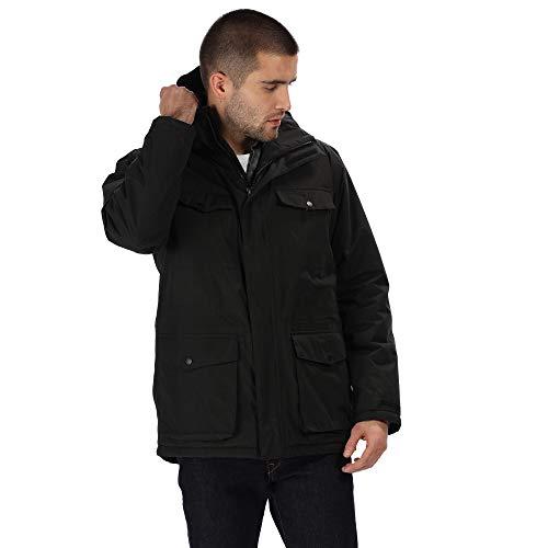 Regatta Herren Phyllon Waterproof Thermo-Guard Insulated Multi-Pocket Hooded Parka Jacket wasserdichte, isolierte Jacke, Schwarz, XL