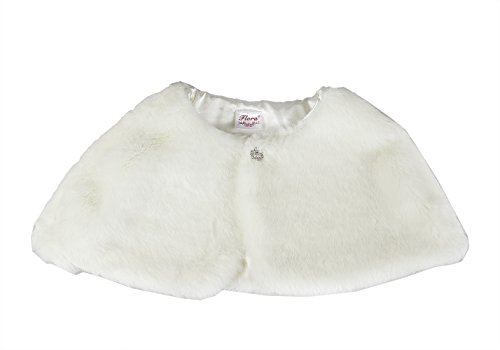 Flora Faux Fur Flower Girl Shrug/Child Bridesmaid Cover up with Diamante Brooch (Small, Ivory)