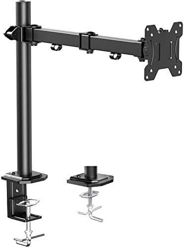 """HUANUO Brazo de Monitor Individual, Base de Monitor de Altura Ajustable para Pantallas LCD LED de 13""""- 32"""", 2 Opciones de Montaje, Dimensiones VESA 75/100, Capacidad de Peso de hasta 8 kg"""