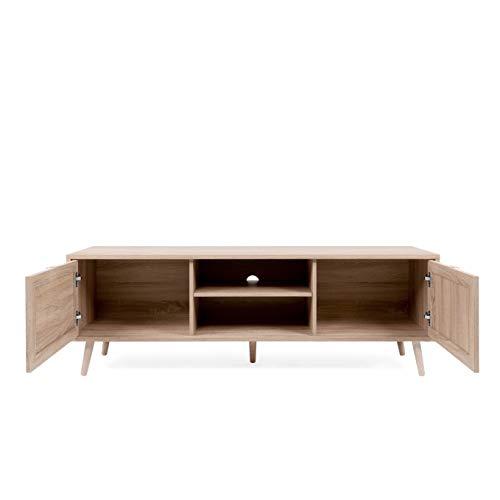 Newfurn TV Lowboard Sonoma Eiche Rattan Optik TV Schrank Modern Skandinavisch - 150x52x40 cm (BxHxT) - Fernsehtisch TV Board Rack Boho - [Mila.Eight] Wohnzimmer - 4