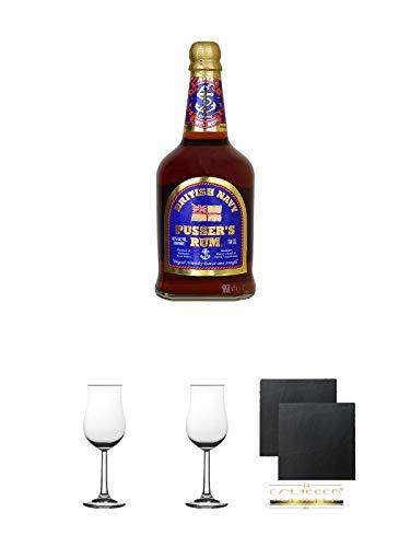 Pussers British Navy Rum Virgin Islands 54,5% 0,7 Liter + 2 Bugatti Nosing Gläser mit Eichstrich 2cl und 4cl + 2 Schiefer Glasuntersetzer eckig ca. 9,5 cm Ø