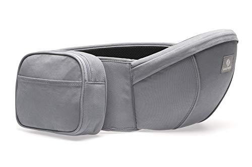 COZYNEST Hochwertige Babytrage bis 137cm Hüftumfang mit abnehmbarer Tasche, Hipseat Hüftsitz für Babys und Kinder 0-36 Monate, leichte bequeme Tragehilfe für die Hüfte - Grau