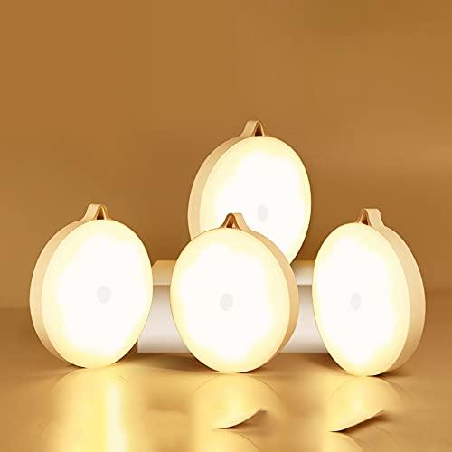 Luz de sensor, luz de noche LED recargable por USB, luz cálida, lámpara de inducción portátil para interiores, para pasillo, armario, armario, escaleras, con tira magnética adhesiva (4 piezas),A