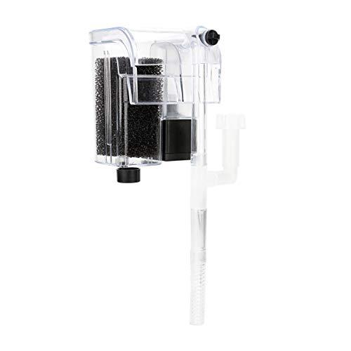 SENZEAL 3W Extrem leise Acryl Wasserfall Aufhänge-Aquariumfilter Sauerstoffpumpe mit Filter Baumwolle für Aquarium Wasserzirkulation - Durchsichtig