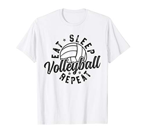 Eat Sleep Volleyball Repeat T-Shirt Team Player Mom Dad...