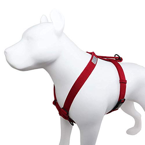 Petfino Hemp Dog Harness with Traffic Handle, No Pull, Escape Proof, Nontoxic Eco-Friendly (Pet Safe). Safety Reflective Accents |Front & Top Clip Attachments|All Metal Hardware