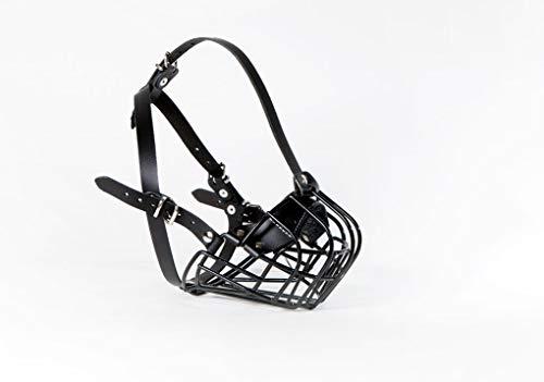 Champion Best Basket Muzzle for French Bulldog | Basket Muzzle for Frenchies Strong Metal Muzzle (B1, Black Leather/Black Metal)