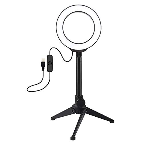 Ring Light + Desktop Tripod Selfie Stick Mount USB White Light LED Ring Vlogging Photography Video Lights Kits 4.7 Inch 12cm,luckyqq (Color : Black)