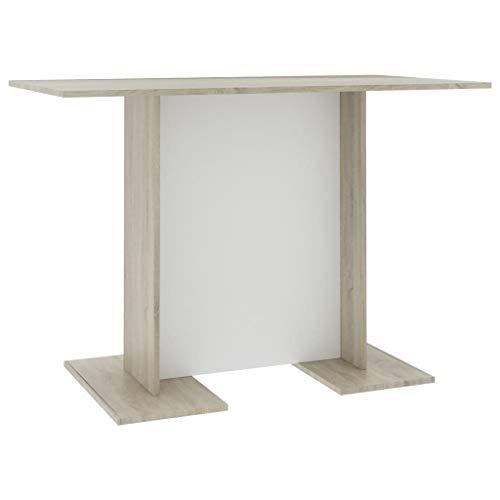 vidaXL Esstisch Küchentisch Esszimmertisch Speisetisch Tisch Säulentisch Restaurant Esszimmer Küche Weiß Sonoma-Eiche 110x60x75cm Spanplatte