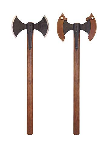 Battle-Merchant mittelalterliche Doppelaxt mit Scheide | handgeschmiedete Mittelalter Axt | Wikinger Reenactment | historische Kampfaxt aus Stahl für Erwachsene | Gesamtlänge ca. 85 cm