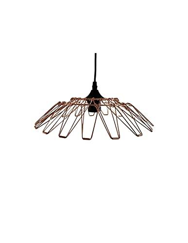 Lámpara colgante de metal multiforma (4 unidades, casquillo E27, color rosa dorado con cable de 1,1m)