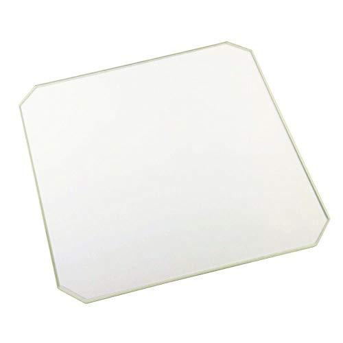 Chamfer - Placa de cristal de borosilicato para impresora 3D CTC, Creality, ANET y Prusa, 220x220x3mm chamfer, 1