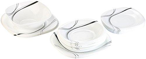 Rosenstein & Söhne Opalglas Teller: Opalglas-Tafelservice mit schwarzem Dekor,19-teilig (Tafelservice Glas)