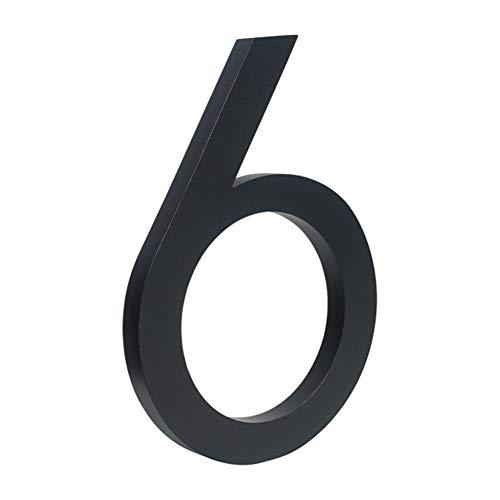 LBY Negro Grande Número Casa Flotante sesión 15cm números de Puerta Moderno Edificio Dirección Señalización Exterior de la Placa (Color : 6, Size : 10cm)