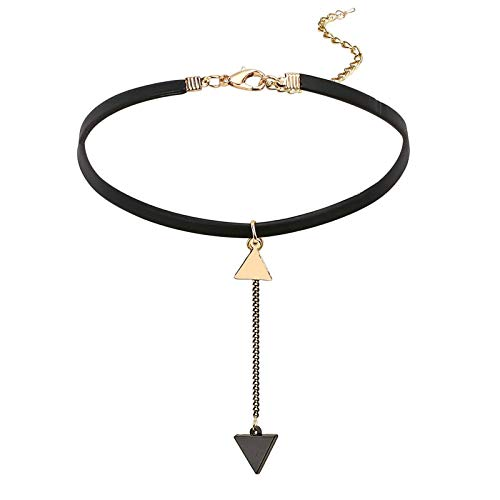 KnBob Collar Necklace Black Gold Dangle Chain Triangle Necklace Stainless Steel and Leather for Women