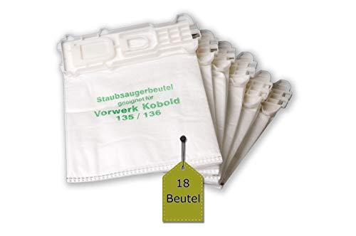 eVendix 18 Staubsaugerbeutel/Staubbeutel/Filtertüten kompatibel mit Vorwerk Kobold VK 135, 135 SC, 136 ähnlich FP135, FP136