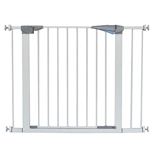 LEMKA Walk Thru Baby Gate,Auto-Close Safety Pet Gate Metal Expandable Dog Gate with Pressure Mount for Stairs,Doorways,Banister (31'-41' Wide, White)