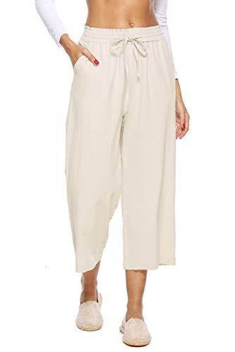 LNX Womens Casual Loose Elastic Waist Cotton Trouser Cropped Wide Leg Pants Beige