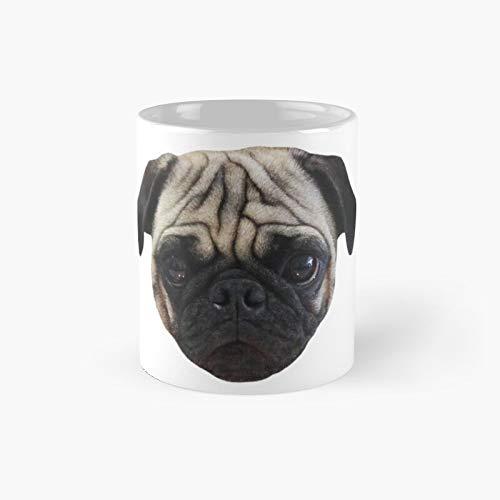 Taza clásica de Aireal Apparel con diseño de carlino de César The Pug Face | El mejor regalo divertidas tazas de café de 11 onzas