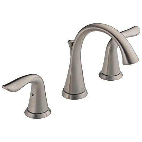 DELTA Lahara Widespread Bathroom Faucet Brushed Nickel, Bathroom Faucet 3 Hole, Diamond Seal Technology, Metal Drain Assembly, Stainless 3538-SSMPU-DST