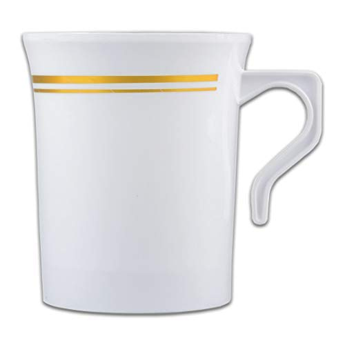 Plastic Coffee Cups | 8 Ounce Disposable Gold Rim Tea Cups Mugs w/Plastic Handle | Elegant Insulated Coffee Mugs Excellent for Weddings, Bridal Showers, Engagement Parties, unbreakable | 12 count [並行輸入品]