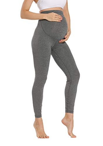 V VOCNI Maternity Leggings Women's Over Bump Active Wear Maternity Clothes for Women Stretch Pregnancy Yoga Pants Gray Large